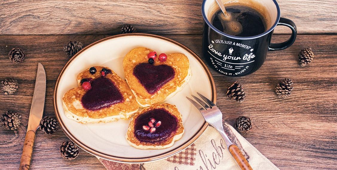 Tasty apple-hazelnuts pancakes